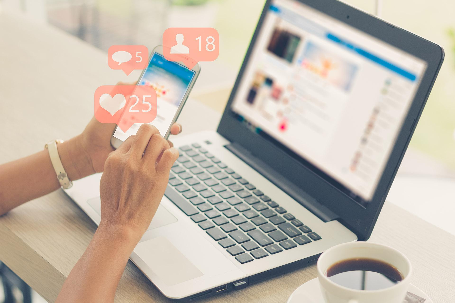 social media hearts on phone