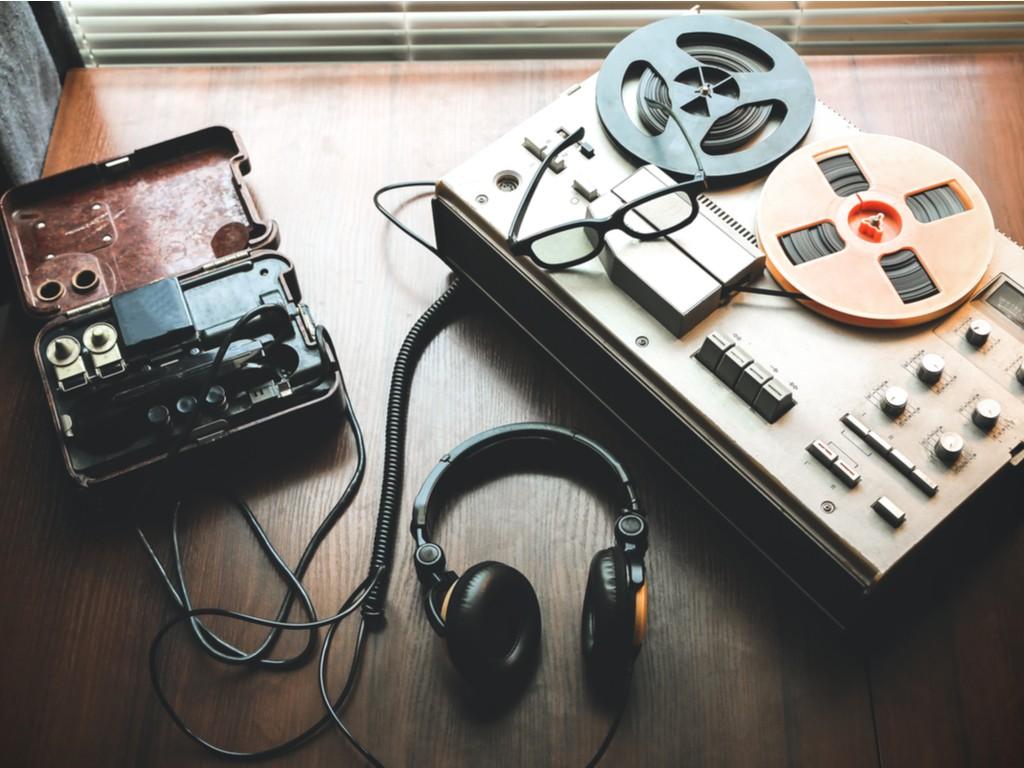 tape recording machine and headphones