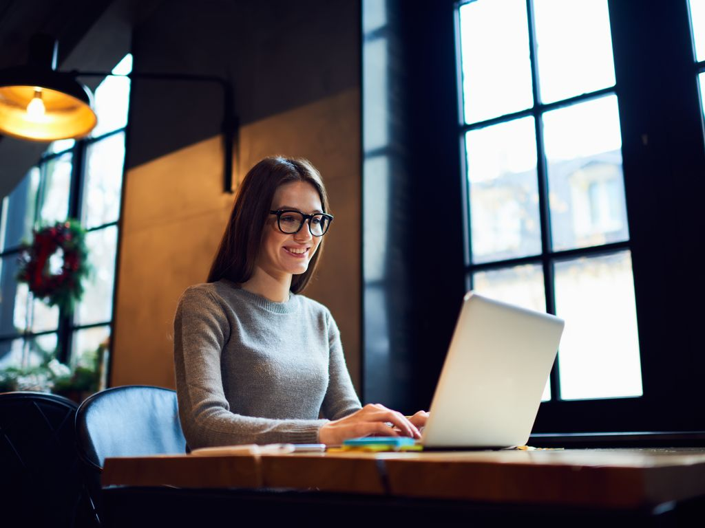 Transcription Company woman employee typing